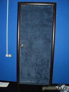 обивка двери синим флоком