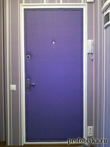 звукоизоляция двери фиолетовая обивка