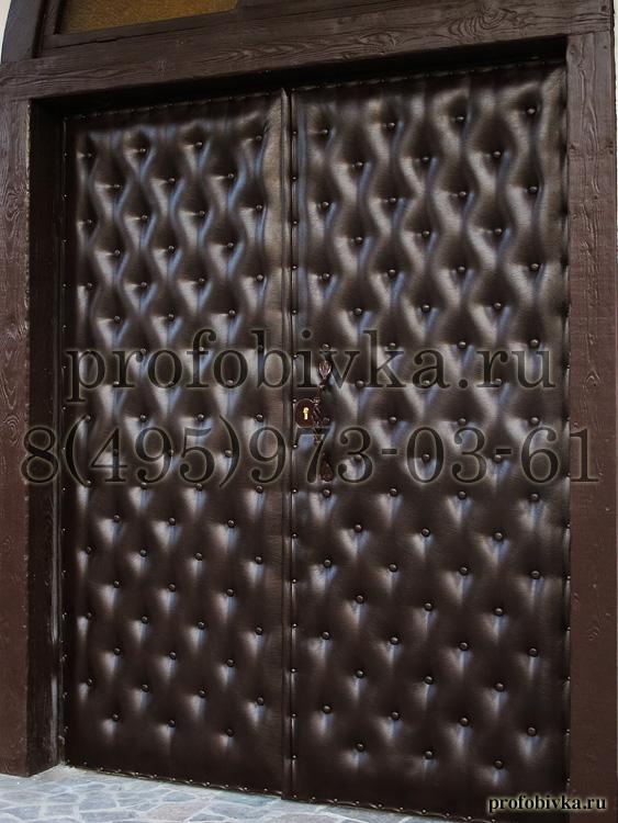 Обтяжка входных дверей кожей своими руками 86