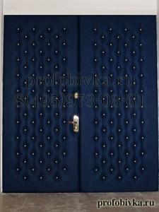 элитная обивка двери синей экокожей